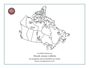 Canada Registry Official Certificate FR